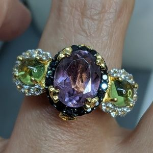 Huge Gold Plated Cocktail Ring Purple Green Stones